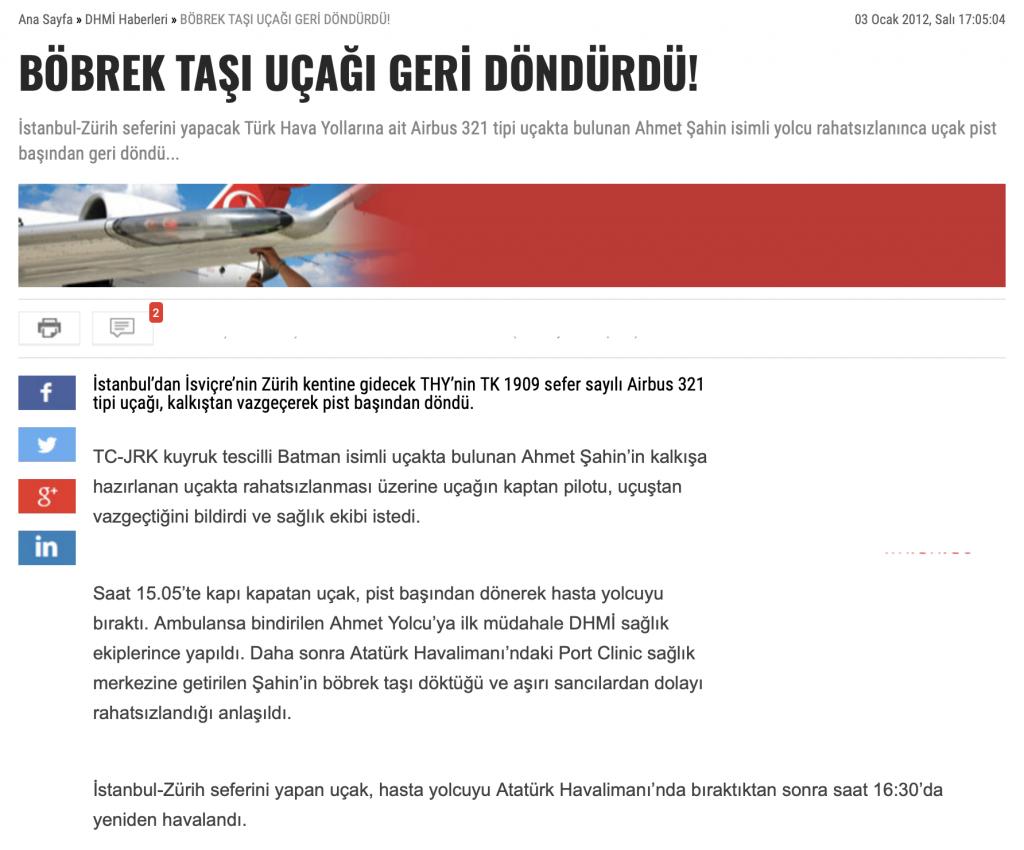 Böbrek taşı uçağı geri döndürdü |Haber | Dr Kadir Tepeler